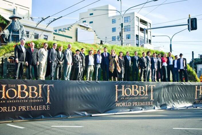 Hobbit Premiere cast members on stage